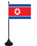 North Korea Desk / Table Flag with plastic stand and base.